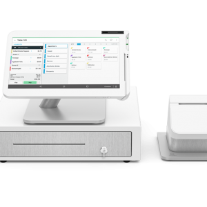Image of a white piece of clover point-of-sale equipment with both a tablet and a card reader from Monify.