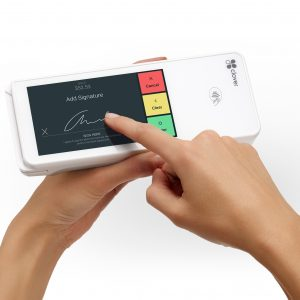 Image of a hand with a pointed finger signing on the Clover Flex touch screen bought from Monify.