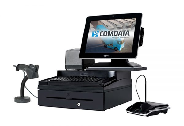 Image of a computer with a touch screen on top of a black cash register. The point of sale software from Monify is within the touch screen and there is also a scanner and pin pad for credit card processing services.
