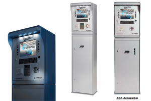 Image of a tall, ADA accessible silver Comdata payment system from Monify.