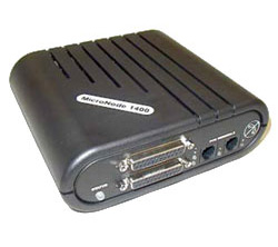 Image of a black Micronode 1400 from Monify with multiple connector ports for enhanced credit card processing services.